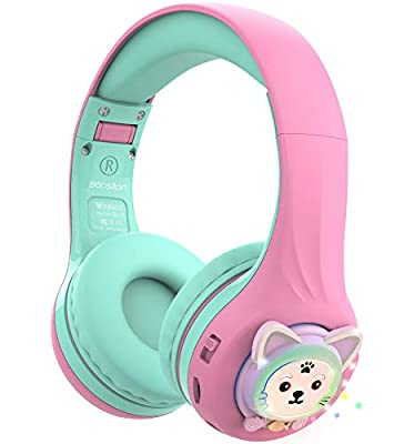 Riwbox Baosilon CB-7S Kids Headphones Wireless/Wired with Mic, Light Up Bluetooth Foldable Headphones Over Ear Volume Limited Safe 75/85/95dB with TF-card, Children Headphones for School(Pink&Green) from Riwbox