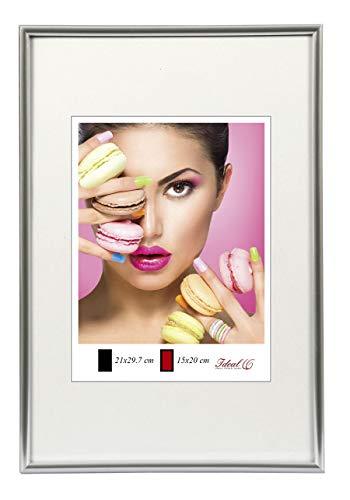 Ideal Trend Photo Style Kunststoff Bilderrahmen 20x20 cm bis 50x70 cm DIN A4 A3 Fotorahmen: Farbe: Silber | Format: 50x70