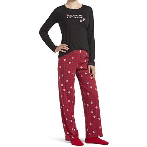 HUE Women's Printed Knit Tee and Pant 3 Piece Pajama Set, Black - Mercury Always, Medium