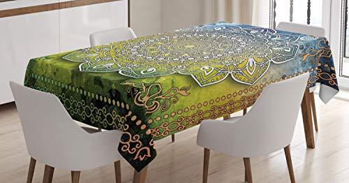 ABAKUHAUS Étnico Mantele, Mandala de Boho, Resiste Las Manchas Fáciles de Limpiar Lavable Estampa Durable, 140 x 240 cm, Multicolor
