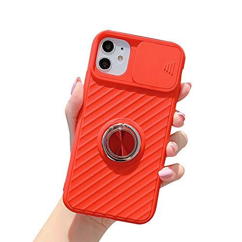 WYCcaseA Funda para iPhone 12/12 Mini/12 Pro MAX [Protección de La Cámara] con Tapa Deslizante para La Cámara Carcasa Silicona TPU con Soporte de Anillo Anti Rasguños Back Cover,Rojo,XSMAX
