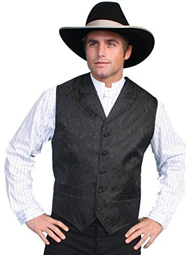 Scully Rangewear Men's Rangewear Paisley Button Vest Black 3X