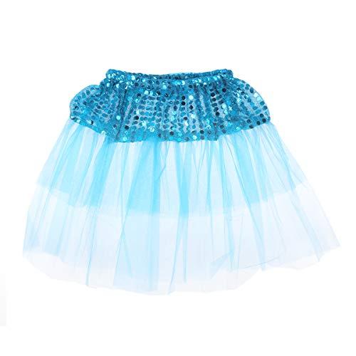 Fenical Mädchen Ballett Tutu Rock Pailletten Funkelnder Tanzrock für Party Bankett (blau, freie Größe)