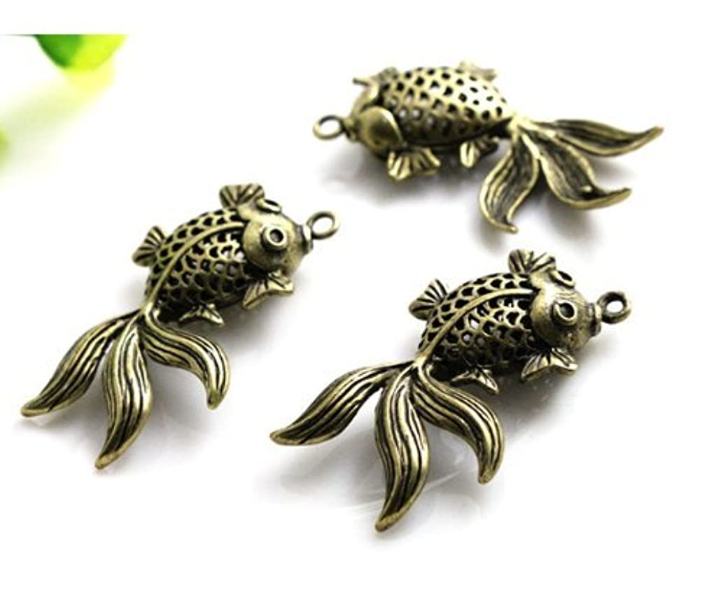 5 Fish Charms Antique Bronze Tone 25x10mm (CB183) qe1582930