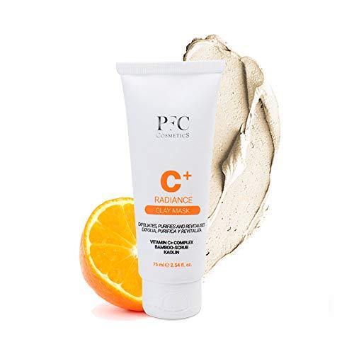 PFC Cosmetics - Mascarilla Facial Radiance C+ Clay Mask 75ml Tratamiento de Arcilla Exfoliante con Vitamina C+ Complex Scrub de Bamboo y Caolín para la Limpieza y el Cuidado Personal de la Piel.