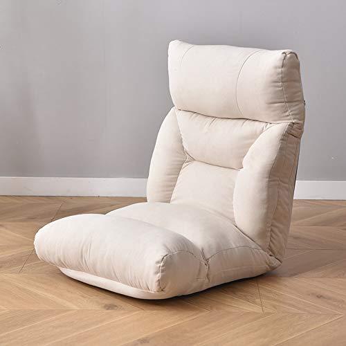 Sillón de suelo ajustable con 6 posiciones, acolchado y plegable, con esponja de alta resistencia, algodón transpirable y tela de lino, sofá cama reclinable con funda extraíble, color beige