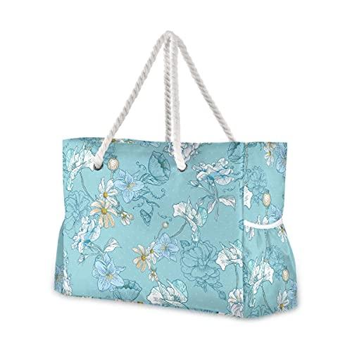 Mnsruu Bolsa de playa de viaje, bolso de playa de hombro grande, diseño floral vintage, asas de cuerda de algodón, bolsos de viaje para mujer