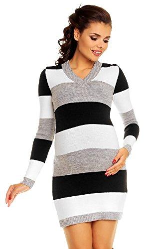 Zeta Ville Damen Umstands Blockfarben Strickkleid Streifen Pulloverkleid - 405c (Schwarz, 36-40, ONE Size)