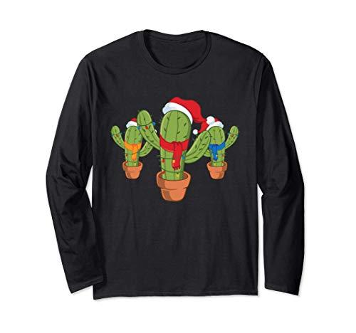 Cactus Árbol de Navidad Luces de Navidad Navidad Santa Mexic Manga Larga
