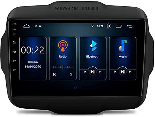 KAUTO Estéreo para Coche Android 10 con Pantalla 9 IPS Navegación GPS Radio Soporte DSP Integrado Salida RCA Completa CarAutoPlay TPMS OBD WiFi para Jeep Renegade 2015-2020