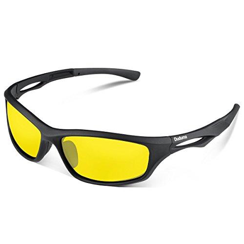 Duduma Gafas de Sol Deportivas Polarizadas Para Hombre Perfectas Para Esquiar Golf Correr Ciclismo TR90 Súper Liviana Para Hombre y Para Mujer (marco mate negro con lente amarilla)