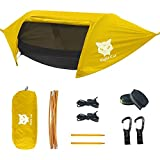 Night Cat Camping Hammock Tent with Mosquito Net and Rain Fly for 1 2 Persons Backpacking Bed with Tree Strap Lightweight Waterproof Hiking Backyard Outdoor 440lbs