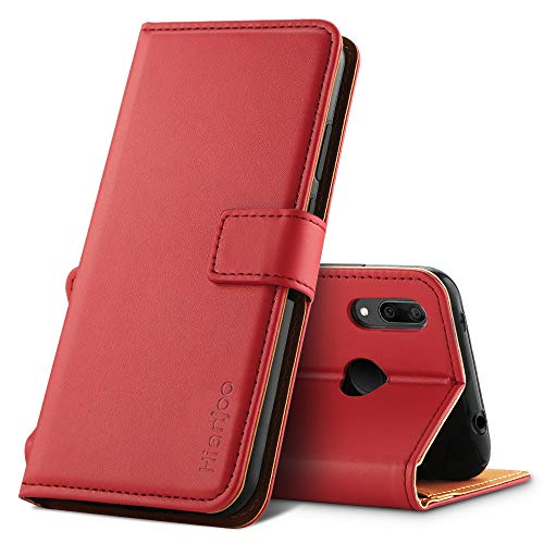 Hianjoo Hülle Kompatibel mit Huawei Y7 2019, Handyhülle Tasche Premium Leder Flip Wallet Hülle Kompatibel für Huawei Y7 Prime 2019 [Standfunktion/Kartenfächern/Magnetic Closure Snap], Rot