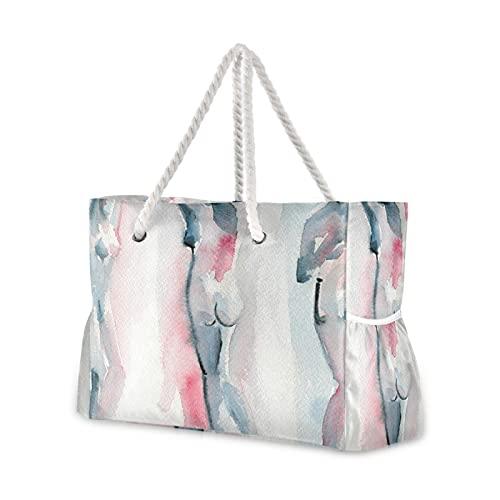 Strandtasche für Damen, Rosa und Blau, Wasserfarben, nackte Figur, Malerei, Einkaufstasche, Pool-Tasche, Seilgriff, Reißverschluss, große Kapazität