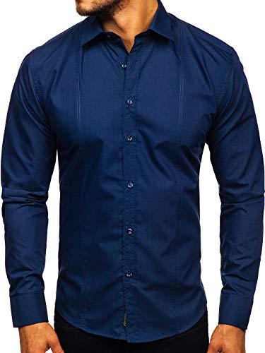 BOLF Herren Hemd Elegant Langarm Jeanshemd Casual Style Slim Fit 4705G Dunkelblau L [2B2]
