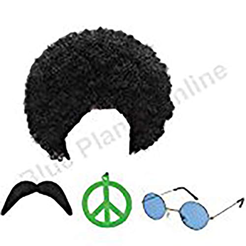 Hippie Hippy Man 1970s Afro Wig Sunglasses Moustache Fancy Dress by Blue Planet Online