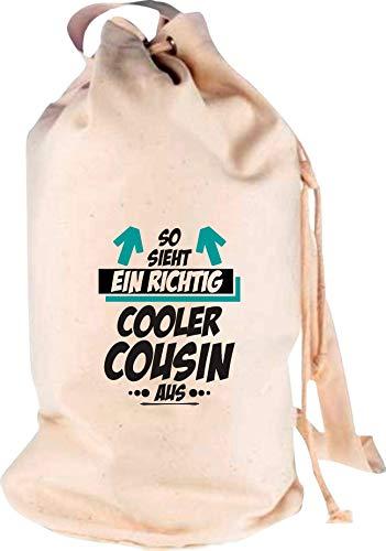 Shirtstown Sac à Dos de Voyage avec Logo et Inscription en Allemand « So Sieht EIN Richtig Cooler Cousin », Naturel, 30 cm x 53 cm x 30 cm