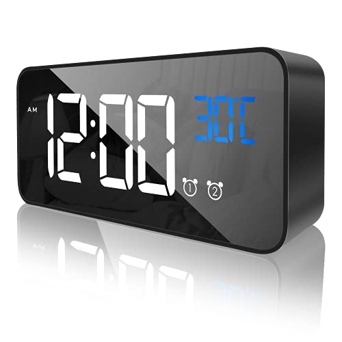 CHEREEKI Reloj Despertador Digital, Despertador Alarma Dual Digital Alarm Clock con Temperatura, 4 Brillo Ajustable Función Snooze, Puerto de Carga USB, 12/24 Horas, 16 música (Negro Puro)