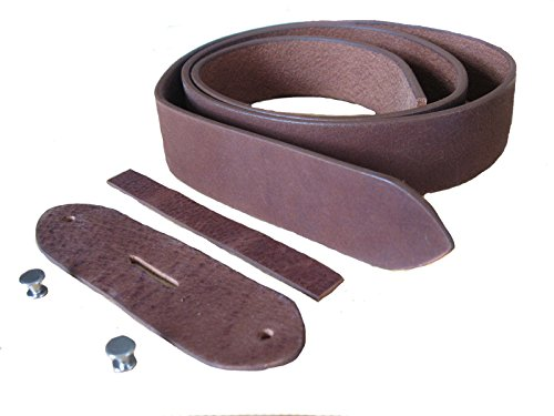 Unbekannt Gürtelrohling Gürtelband Gürtel ohne Schließe 100% Büffelleder Sattlerware 3,4cm breit 0,4cm stark incl. kompl. Montagesatz