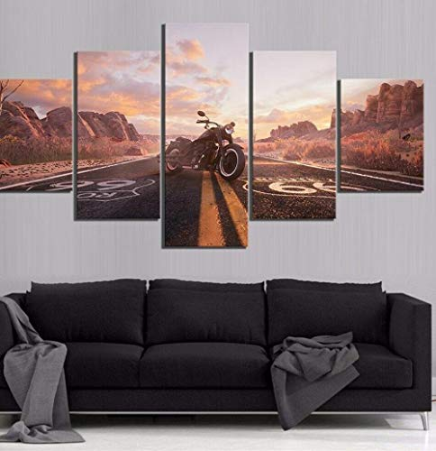 ERSHA Route 66 Ride Motorcycle Road 5 Piezas Lienzo Pared Arte Cartel impresión decoración del hogar