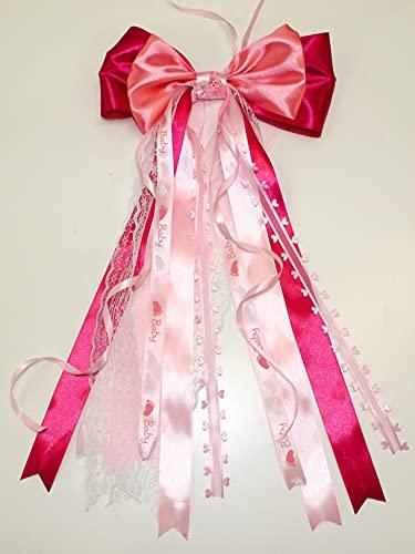CaPiSo 20 x 40 cm grandes lazos de raso para bebé, sin manualidades, para cumpleaños, nacimiento, bautizo, tarta de pañales, lazo doble (rosa salmón)