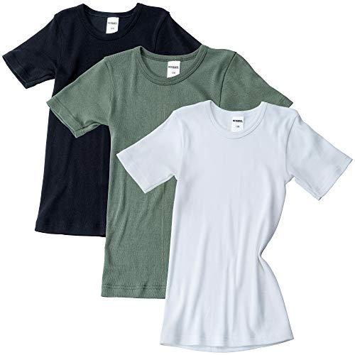 HERMKO 2810 3er Pack Kinder Kurzarm Unterhemd für Mädchen + Jungen aus Bio-Baumwolle, Größe:104, Farbe:Mix w/s/o
