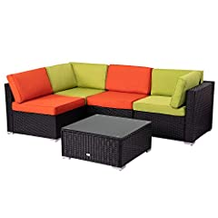 ✔✔Comfortable Cushions: This patio sofa set comes with thick sponge padded seat cushions and back cushions for optimal comfort and relaxation. ✔✔Gorgeous Glass Table Top: This rattan Furniture set features a stylish tempered glass top that perfectly ...