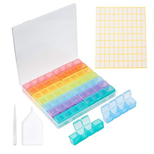 PandaHall 56 cajas de almacenamiento de pintura de diamantes de colores con 297 pegatinas de etiqueta, 1 pinzas, 1 placa de bandeja, bordado, cuentas de diamante de arte, accesorios