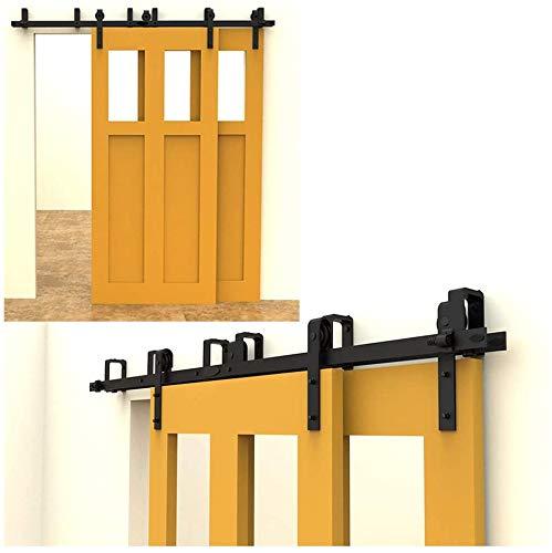 CCJH 304cm(10FT) Kit de guía para puerta corredera Bypass Ferretería Polea de Rail suspendida sistema de puerta interiores en madera granero armario cuarto de, negro