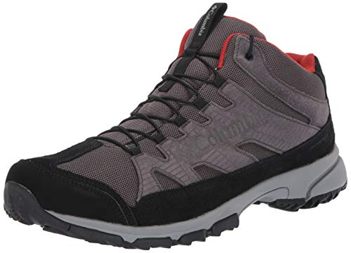 Image of the Columbia Men's Five Forks MID Waterproof Hiking Shoe, Dark Grey, Flame, 8 Regular US