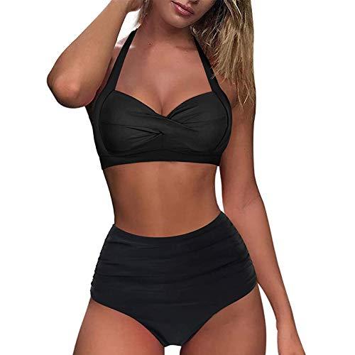 Sonojie Damen Push Up Bikini Set Zweiteilige Neckholder Retro Bademode Badeanzug mit Blume Drucken Strandkleidung Oberteil High Waist Bikinihose Halter Gepolstert Sport Swimwear Bauchweg