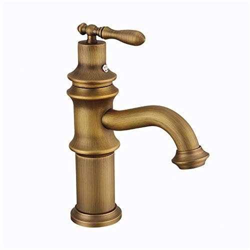 Waterval kraan bad Europese antieke koperen badkamer badkamer badkamer kraan Retro enkele opening pull-down-sproeier Copper Kitchen Sink waterkraan eenhands badmengkraan badkamer kraan wast