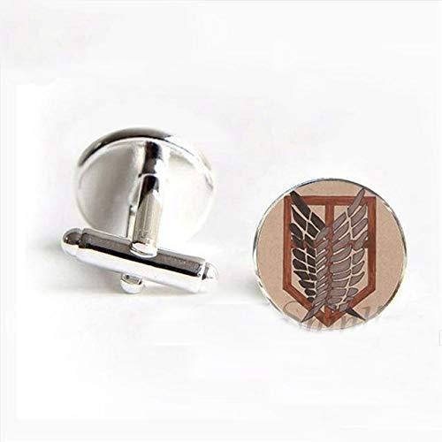 Style10 Trendy Attack on Titan Cufflink Wings of Freedom Bright Cufflink rotondo in vetro cabochon Cuff per uomo