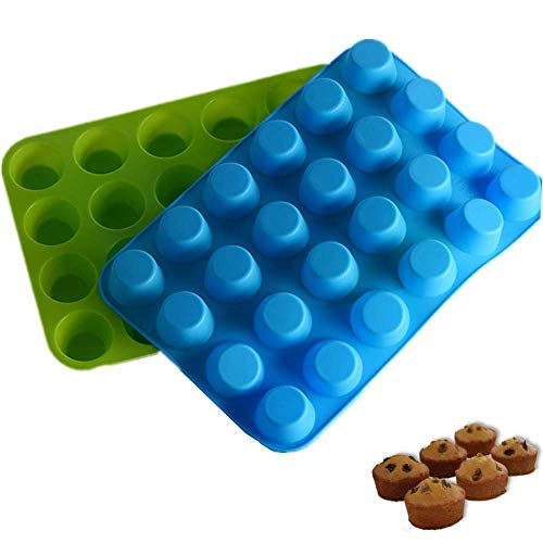 2 Pieces Silicone Mini Muffin & Cupcake Baking Pan One 24 Cups-Jelly Biscuits Bakeware Cake Baking Mold