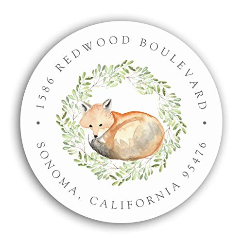 """Personalized Customized Labels Tags,Customizable Stickers Woodland Fox Return Address Classic Round Sticker for Business Custom Made Stickers, 100 Stickers2X2"""""""