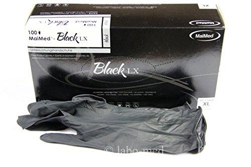 Latex Handschuhe Gants Gloves Box mit 100st. Schwarz/ Black Gr:XL