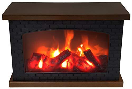 LED-Tischkamin mit flammensimulation Feuer-Leuchteffekt Kaminfeuer - Batteriebetrieben - Kamin Glasscheibe Deko-Kamin Flammeneffekt (30cm)