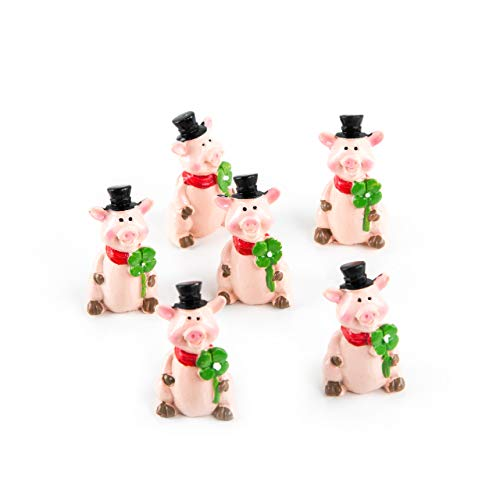 Logbuch-Verlag 6 Glücksschweine rosa mit Kleeblatt u. Zylinder Glücksschweinchen Talisman Glücksbringer kleines Geschenk Mitgebsel Silvester Neujahr Geburtstag