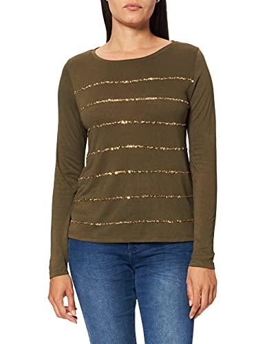 Springfield Camiseta Rayas Lentejuela, Verde, XS para Mujer