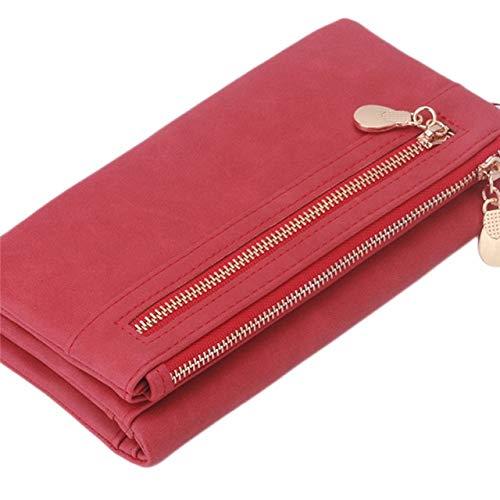 QIANHEDAMAI mode vrouwen portemonnee leder portemonnee hoge kwaliteit dubbele ritssluiting armband portemonnee dames koppeling grote capaciteit kaarthouder
