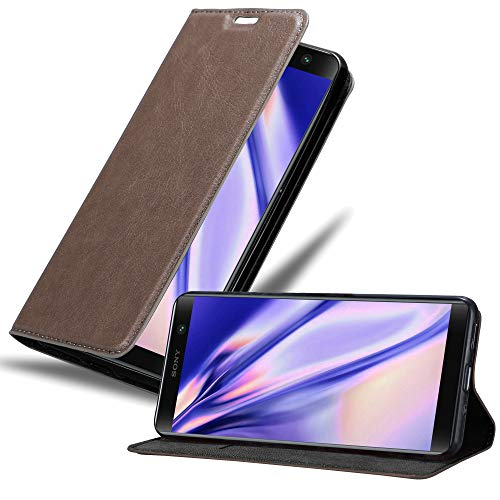 Cadorabo Hülle für Sony Xperia XA2 Plus - Hülle in Kaffee BRAUN – Handyhülle mit Magnetverschluss, Standfunktion & Kartenfach - Hülle Cover Schutzhülle Etui Tasche Book Klapp Style