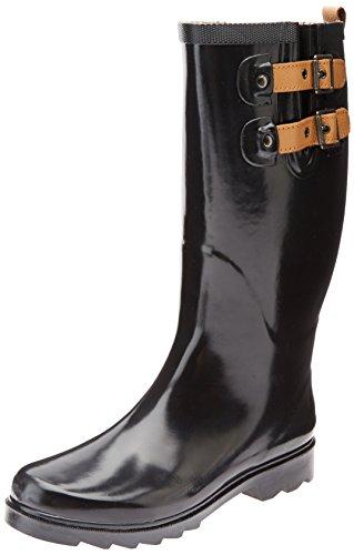 Chooka Women's Tall Rain Boot, Black/Shiny, 10 M US