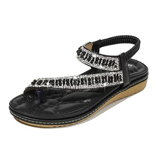 Las nuevas sandalias para mujer perla diamante sandalias planas mujeres talón abierto sandalias planas sandalias mujer zapatos de playa casual zapatos de princesa, negro, 39