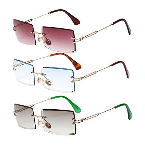 Amuzocity Gafas de Sol Sin Montura de 3 Piezas para Mujer, Ajuste Rectangular, Lentes