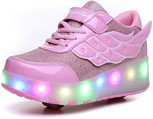 Skateboard Scarpe con Rotelle LED Lampeggiante Scarpe Doppia Ruote Pattini a Rotelle Unisex Bambini All'aperto Sportive Ginnastica Sneaker per Ragazzi e Ragazze