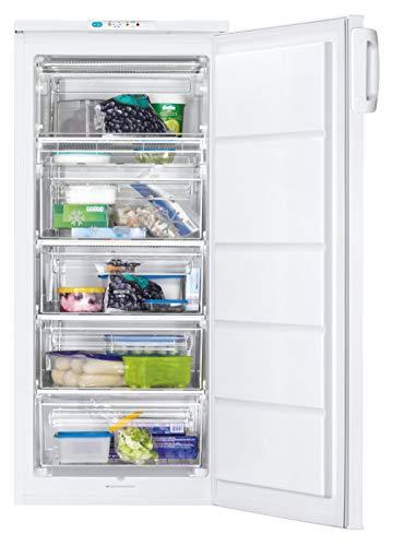 Zanussi ZFU19400WA Congelador Vertical, Capacidad 190 Litros, Electrónico, Puerta Arqueada y Reversible, Alarma Acústica y Luminosa, Blanco