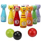 DQTYE Juego de Bolos de Madera Mini Juego de Bolos para niños de Colores con 10 Pines de Caras de Animales 3 Bolas de Juguetes educativos para niños pequeños