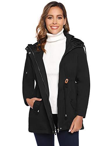 Parka à Capuche Manteau Femme Veste Longue Jacket Zippé Chaud Blouson Manches Longues Casual Sportif Hiver Printemps Automne à la Mode,Noir,S