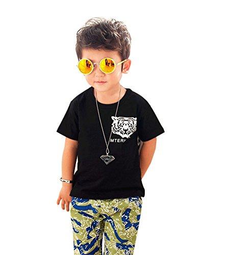 Mode T-shirt à manches courtes pour homme T-shirt pour garçon - Noir - Taille Unique