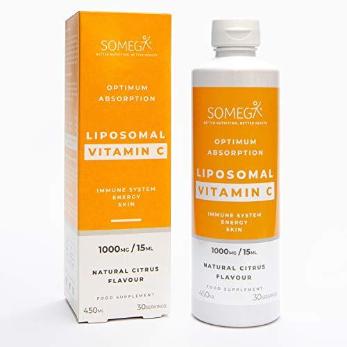 SOMEGA Liposomal Vitamin C Liquid - Easily Absorbing C Vitamin to Support Brain & Heart Function - Naturally Boosts Immune System and Collagen Production - Vegan, Sugar & Gluten Free - 450ml Bottle
